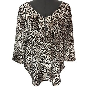Green Envelope Leopard Print Knit Top NWT